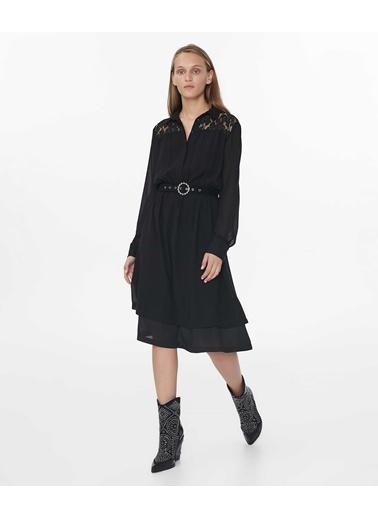 Ipekyol Dantel Mix Midi Elbise Siyah